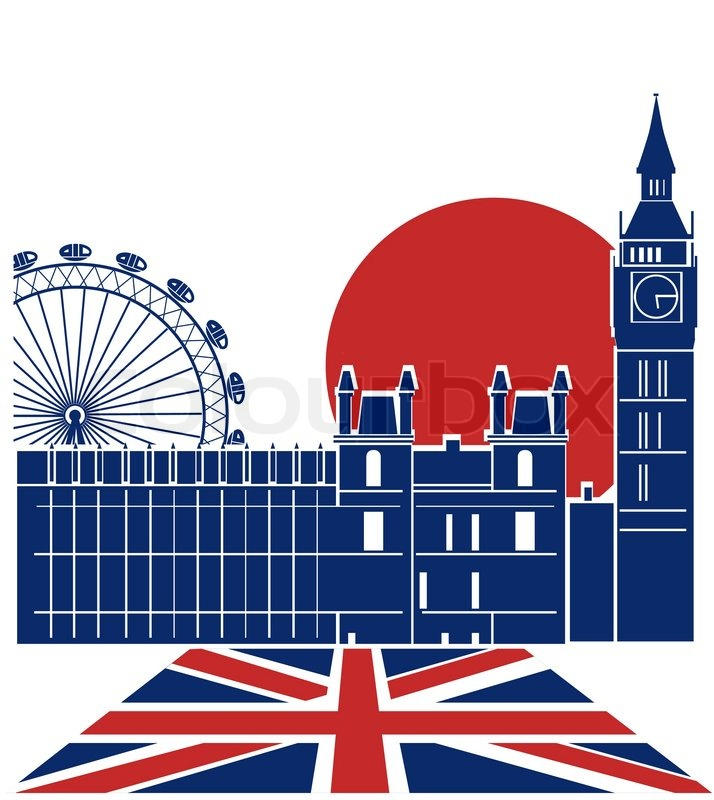 London LandmarkVector Color Background With England Flag