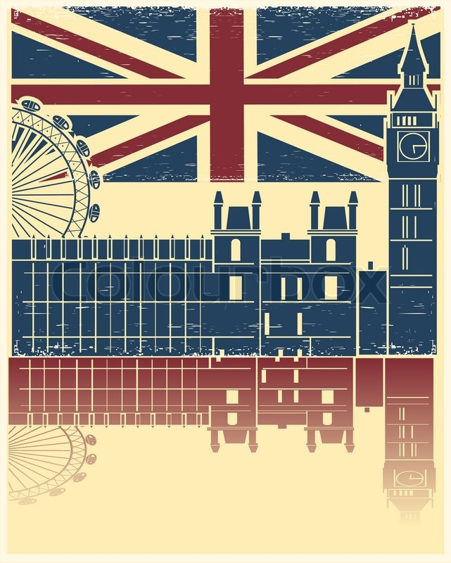 Vintage London Poster On Old Background Texture With England Flag