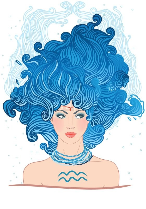 illustration of aquarius astrological stock vector