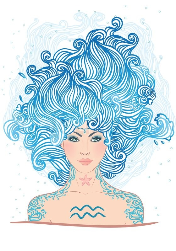 Фондовый вектор иллюстрация из Водолей Знак зодиака как красивая девушка'