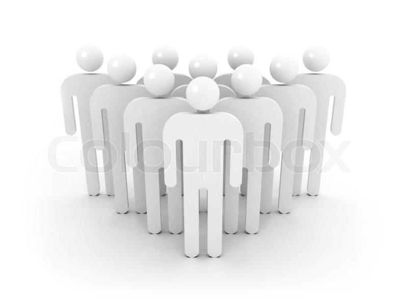 Gruppe von Menschen wird schematische Keil auf weißem Hintergrund ...