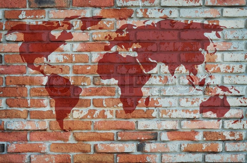 World map on damage brick wall stock photo colourbox gumiabroncs Gallery
