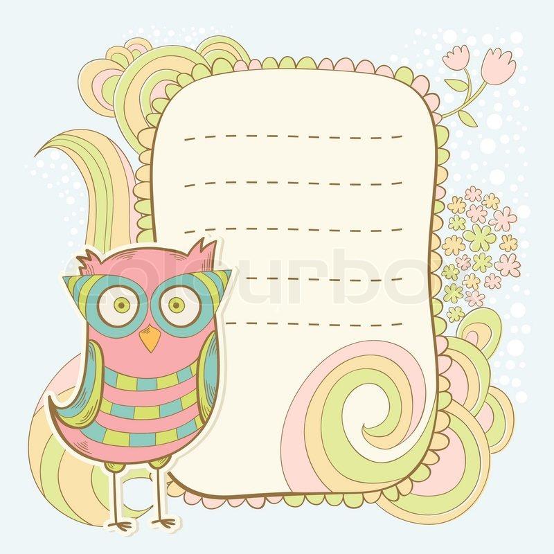 Cute cartoon owl invitation fcard stock vector colourbox cute cartoon owl invitation fcard vector stopboris Choice Image