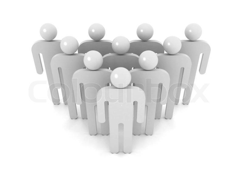 Gruppe von schematischen grauen Menschen auf weißem Hintergrund mit ...