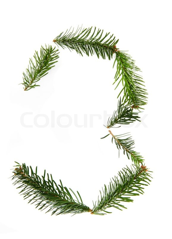 3 Number Symbol From Pine Tree Part Of Christmas Alphabet Stock