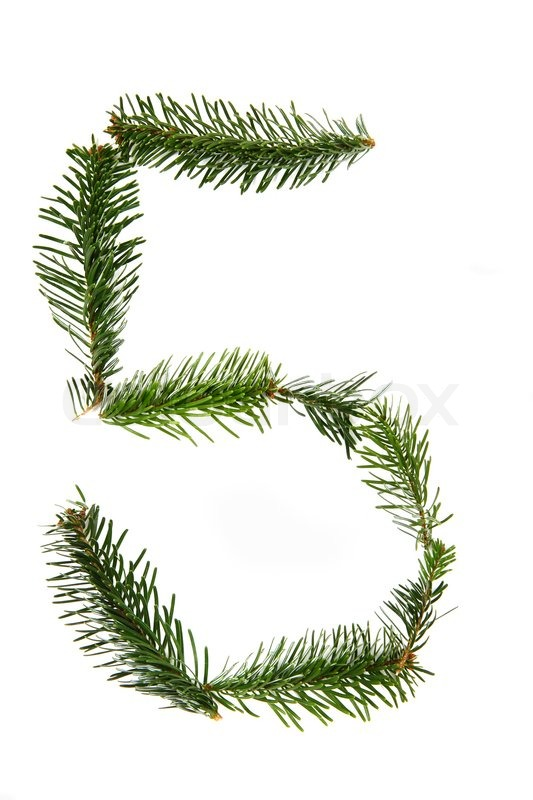 5 Number Symbol From Pine Tree Part Of Christmas Alphabet Stock