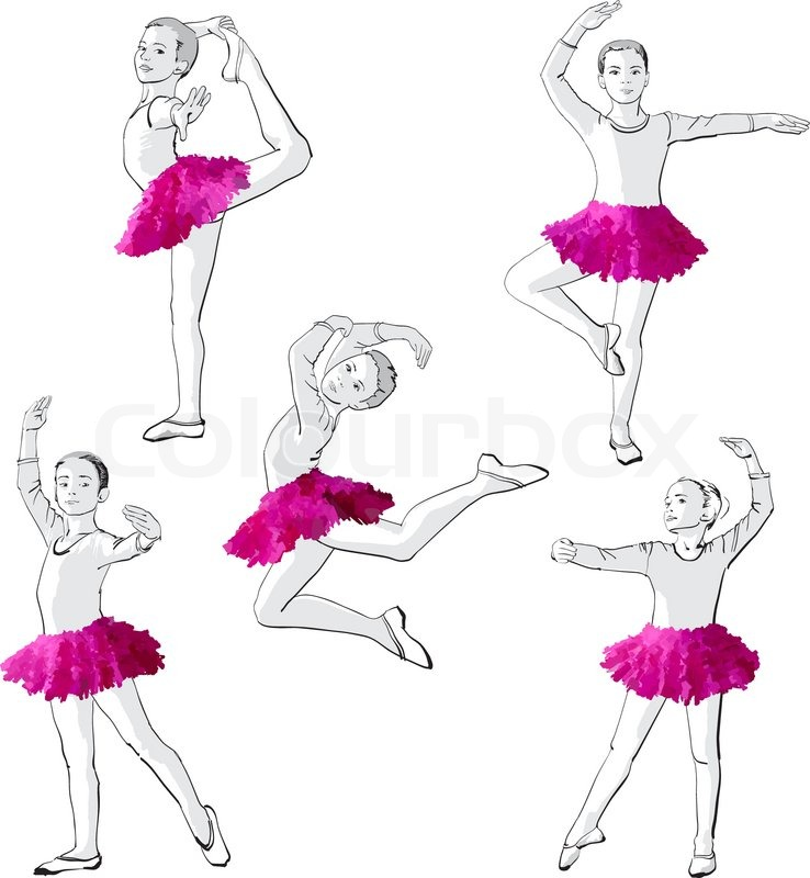 ballerinas little girls dancing children stock vector colourbox