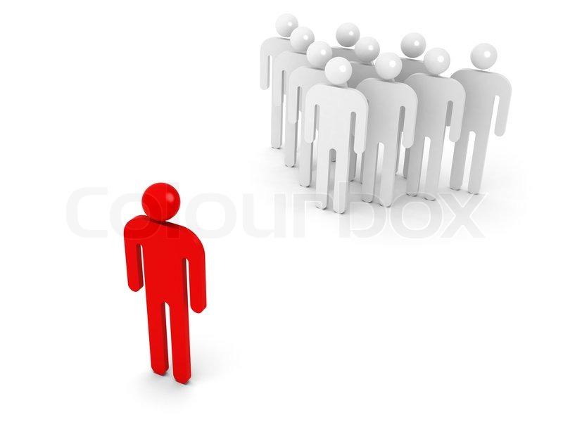 Gruppe von Personen und eine schematische gegenüber rot Person auf ...