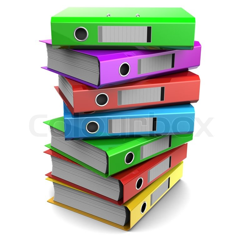 3d Clipart Of Pile Multicolored Binder Folders Isolated On White Background