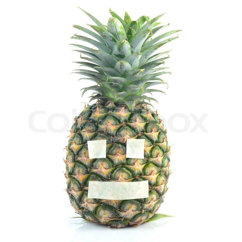 Ananas mit Emotion Gesicht   Stockfoto   Colourbox