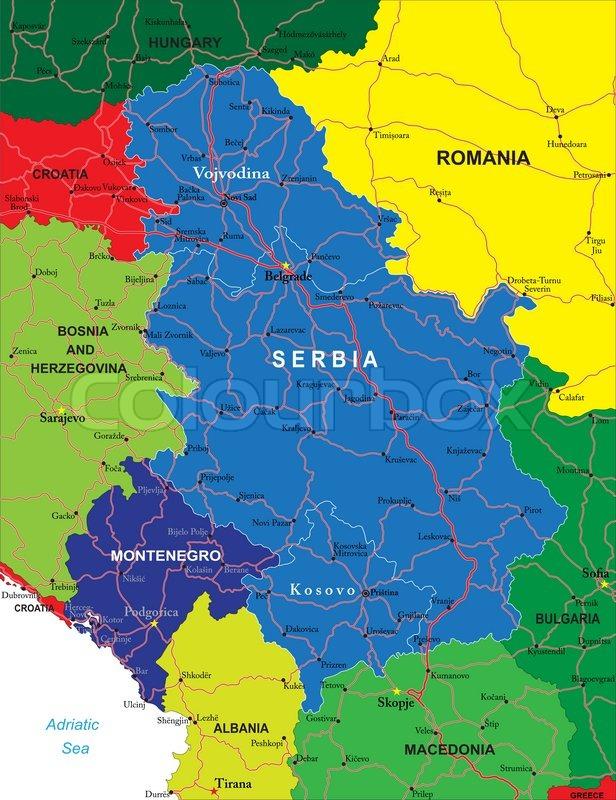 Bar Montenegro Karte.Serbien Und Montenegro Karte Stock Vektor Colourbox