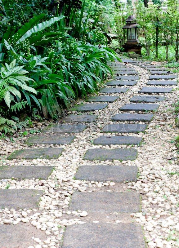 Stone path in the garden, stock photo