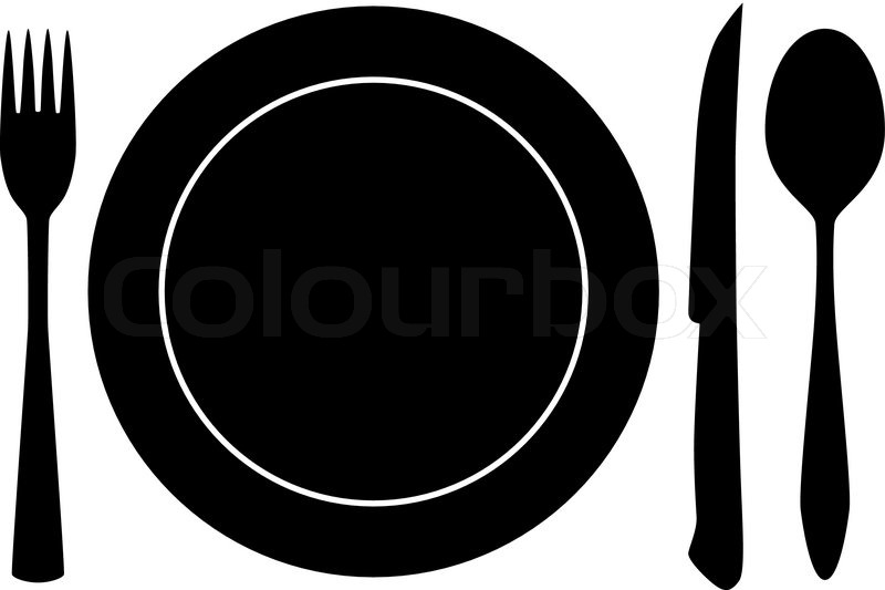 Plateful Fork And Spoon Silhouette Vector Stock Vector