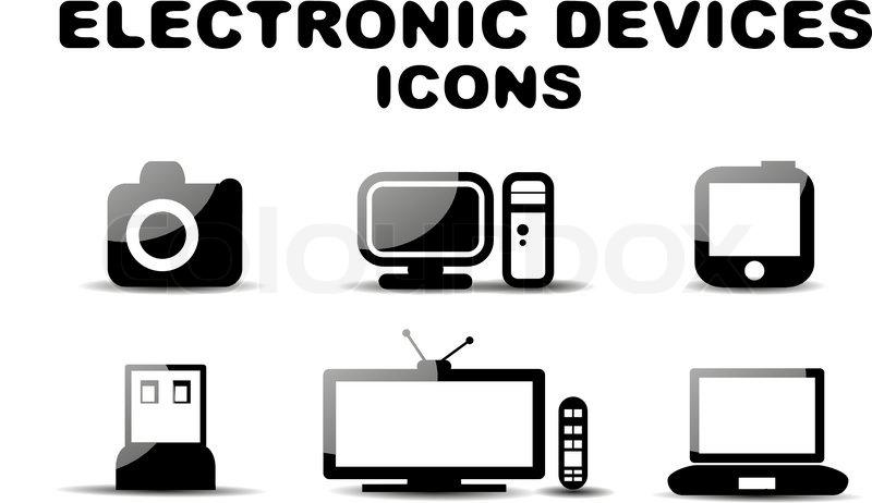 Icon Electronics Srinagar: Black Glossy Electronic Devices Icon Set