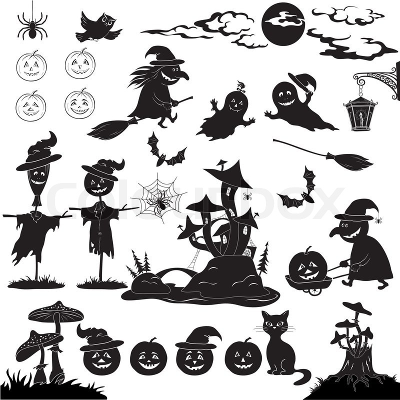 Halloween holiday cartoon, set of objects, animals and characters ...