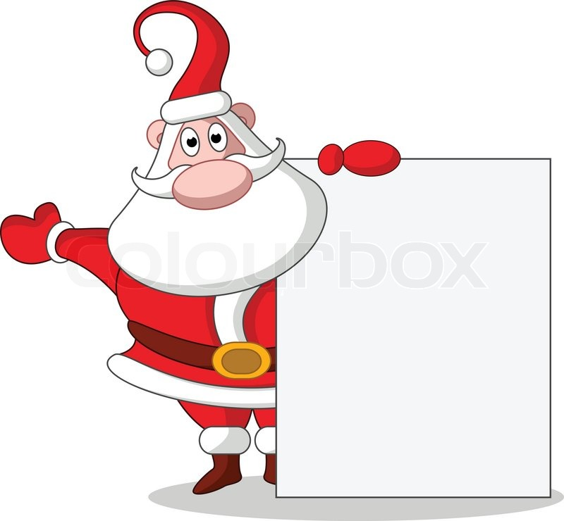 Cute Christmas Santa Claus With Blank Sign