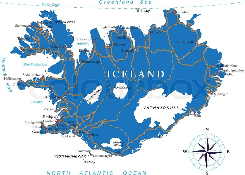 Highly detailed vector map of Iceland with administrative regions ...