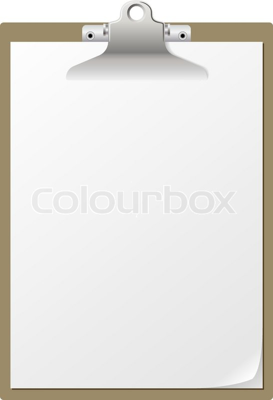 blank paper on clipboard isolated on white background stock