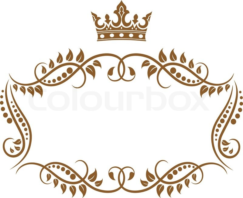 elegant royal medieval frame with crown