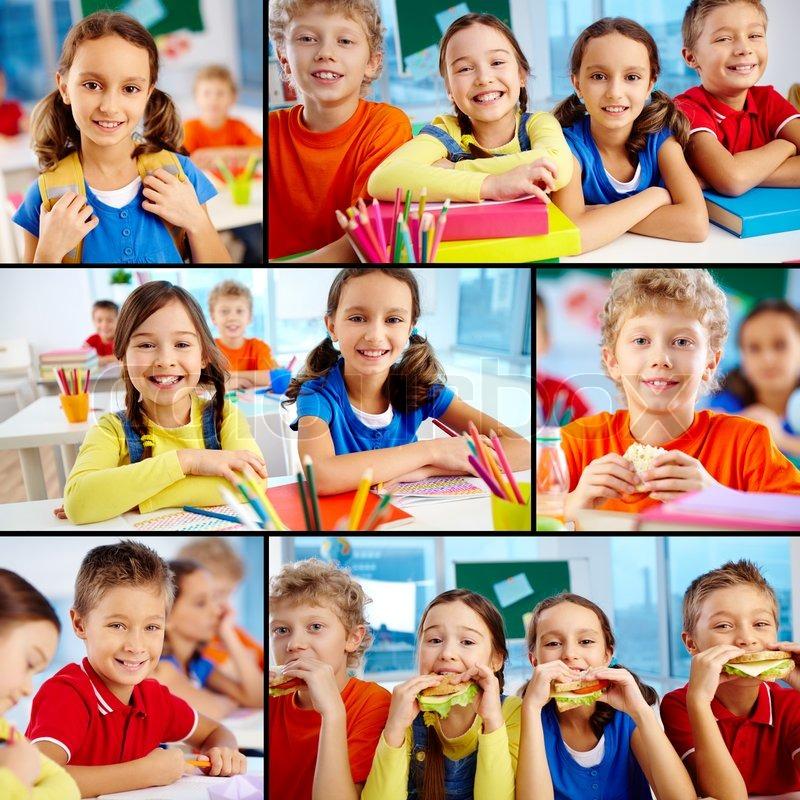 Cute Skolekammerater Stock Foto Colourbox