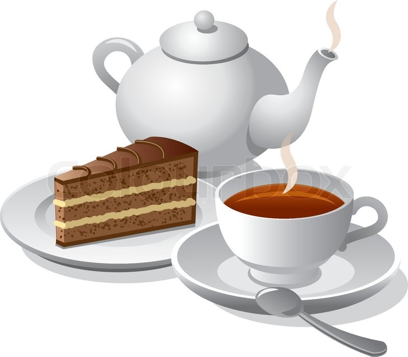 Tea and cake icon | Stock vector | Colourbox
