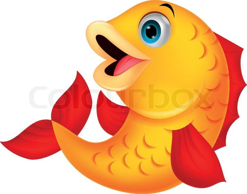 Cute Fish Cartoon Stock Vector Colourbox
