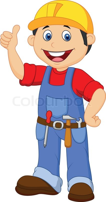 vector illustration of cartoon handyman with tools belt