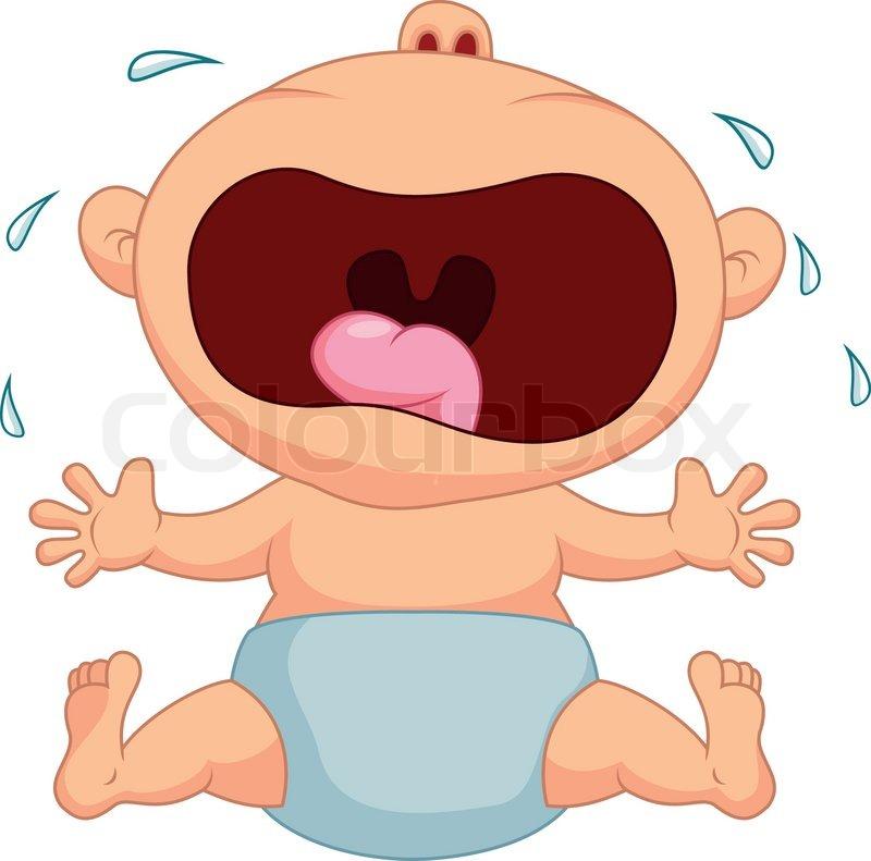 Vector illustration of Baby boy cartoon crying | Stock ...