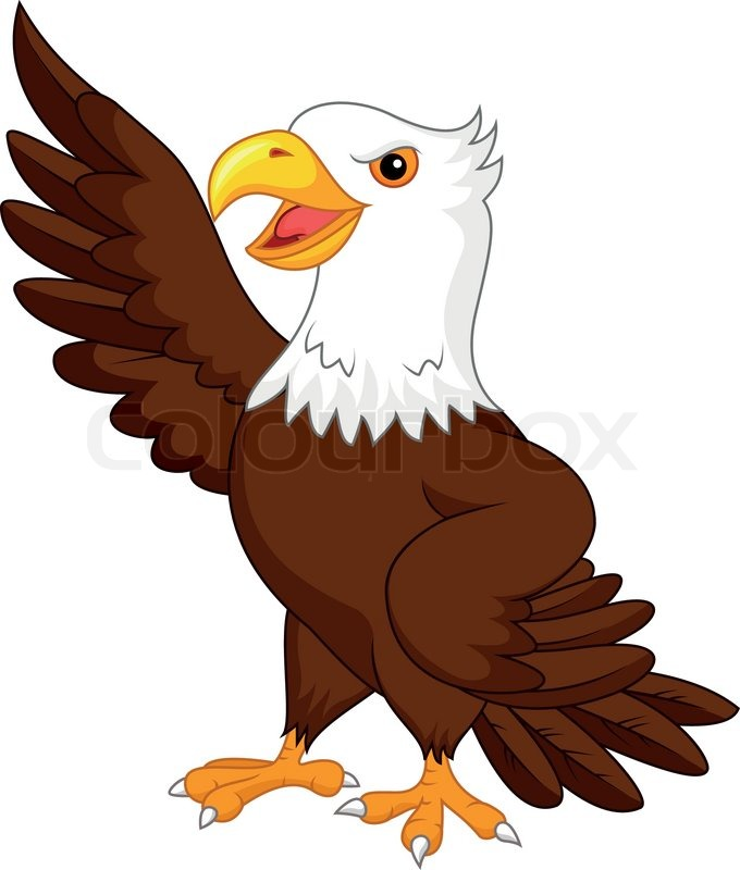 vector illustration of eagle cartoon waving stock vector colourbox rh colourbox com american eagle cartoon images cartoon eagle pictures free