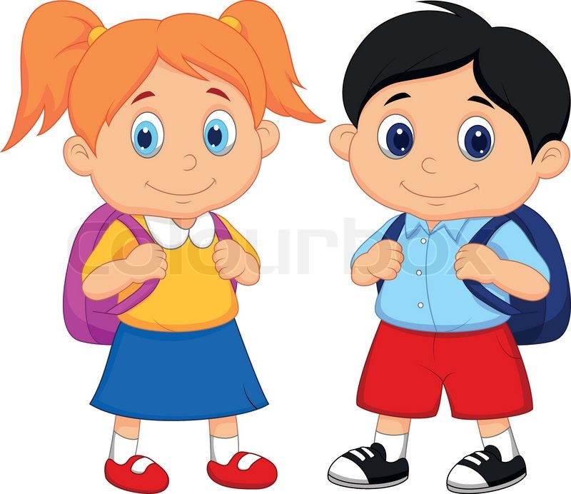 vector illustration of boy and girl cartoon with backpacks stock rh colourbox com boy and girl clipart images boy and girl clipart free
