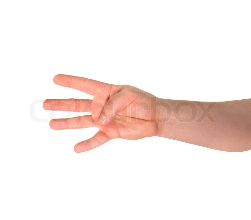 Zählen: vier Finger-Zeichen als kaukasisch Geste mit der Hand über ...