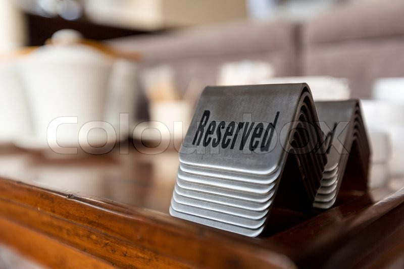 Group Of Reserved Table Signs In A Restaurant Stock Photo Colourbox - Restaurant table signs