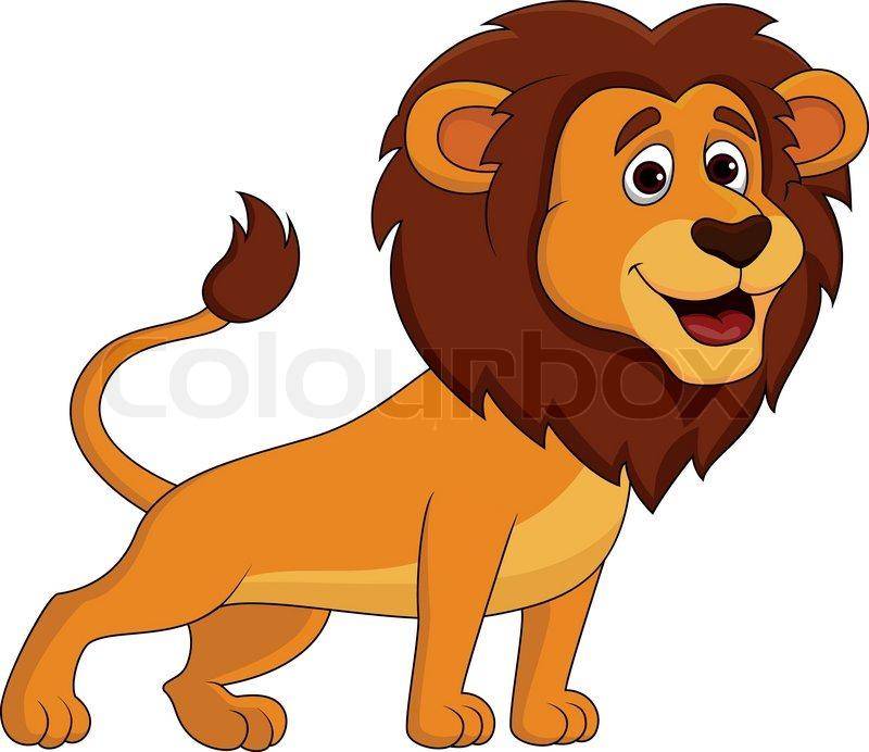 Vector illustration of cute lion cartoon stock