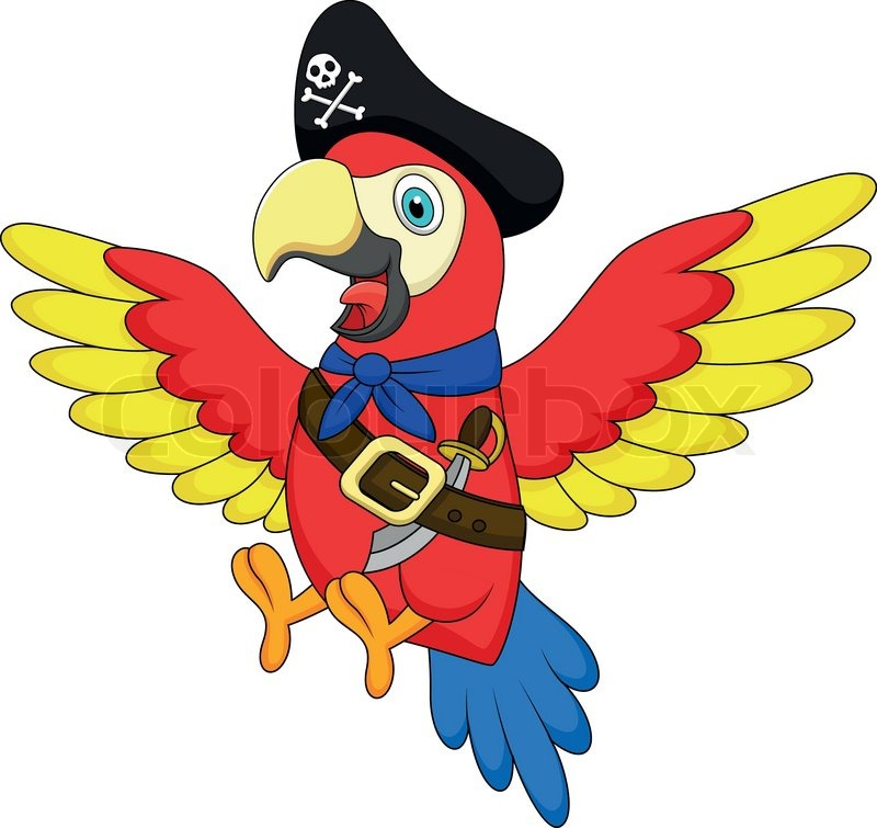 Cute Parrot Pirate Cartoon Vector Colourbox