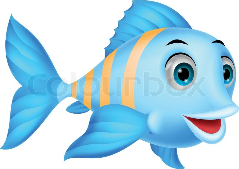 Cute Fish Cartoon Stock Vector Colourbox