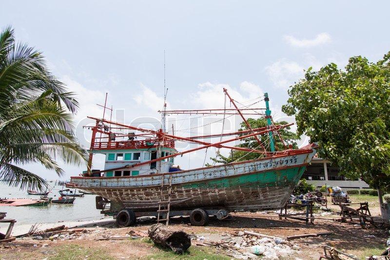 Repair of the vessel Ship repair Thailand, stock photo