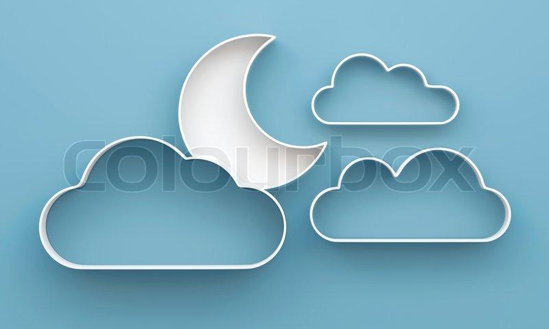 3d wolke und mond regale und regal design auf hintergrund - Wandregal wolke ...