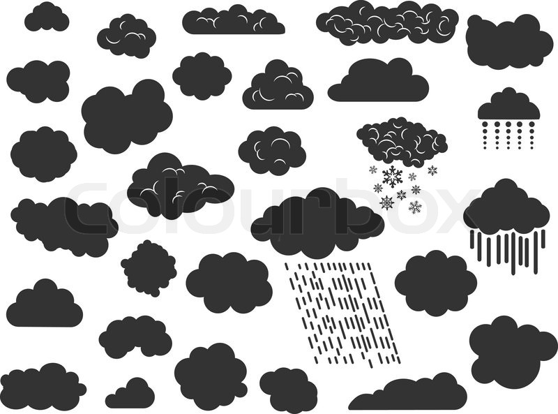 Doodle Clouds With Rain Fog Hail And Storm Stock