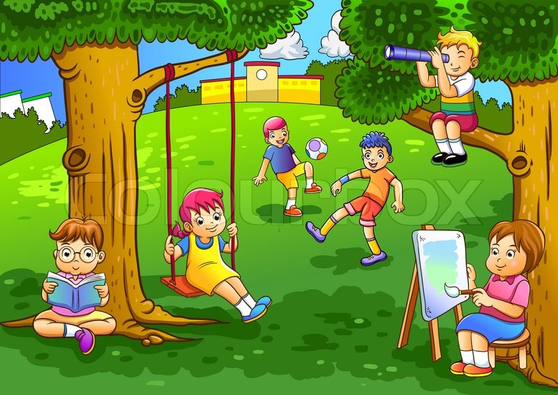 Kids Playing In Trees Clipart