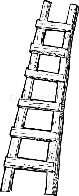 Hand Drawn Cartoon Sketch Illustration Of Ladder Stock