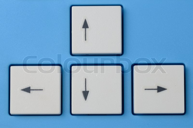 Keyboard Arrow Cursor Buttons Isolated On Blue Background Stock