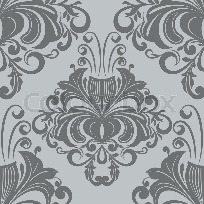 seamless vektor verzierten vintage grau tapetenmuster stock vektor - Tapete Muster Grau