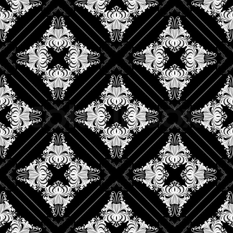 Schwarze Tapete Mit Wei?en Blumen : Vintage Black and White Flower Vector