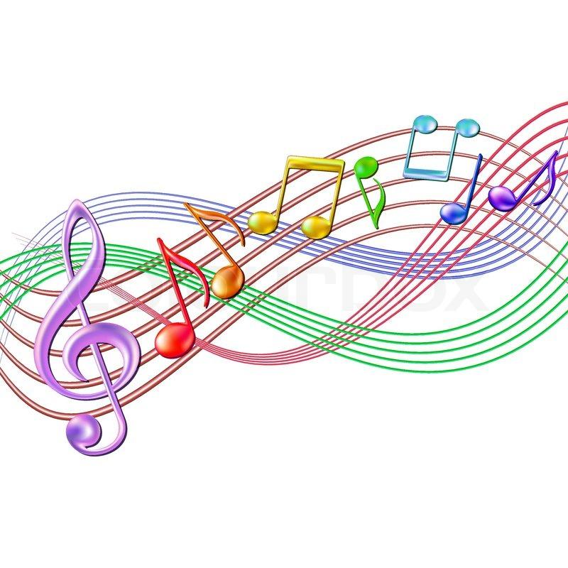 Farverige musikalske noter personale ...   Stock vektor   Colourbox