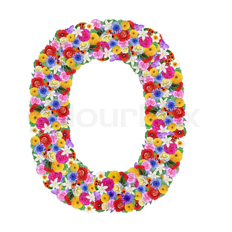 o letter of the alphabet in different flowers isolated on white