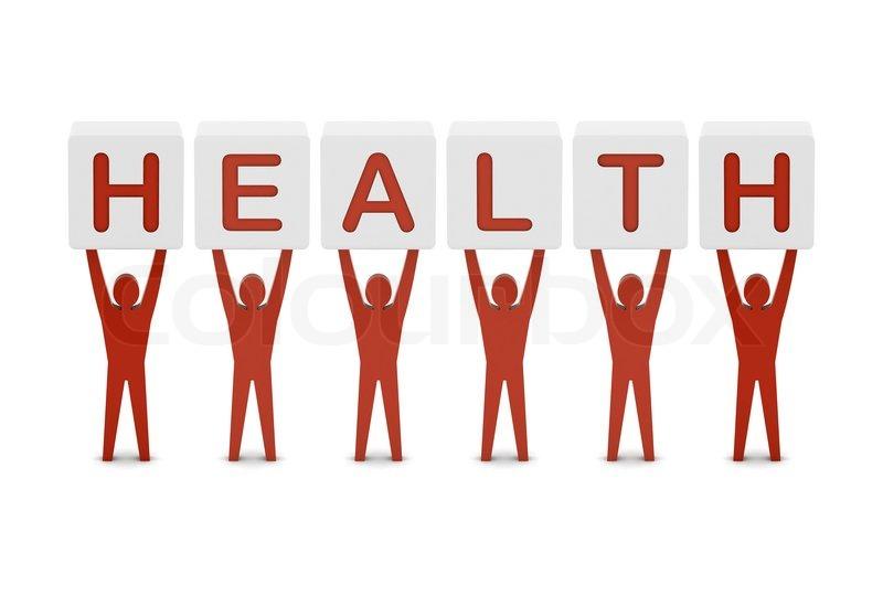 Men Holding The Word Health Concept 3D Illustration