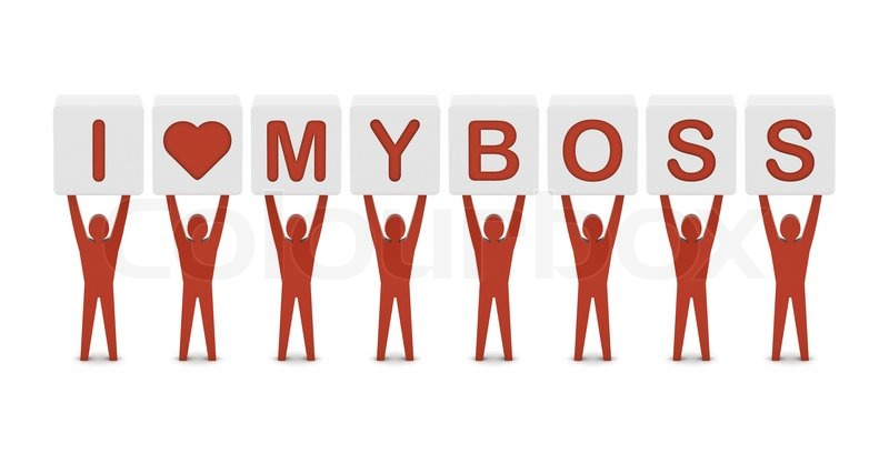 Men Holding The Phrase I Love My Boss Concept 3D Illustration Stock Photo