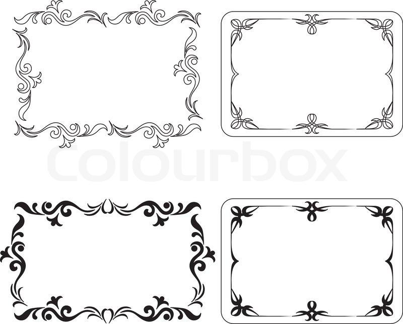 Set of abstract symbolical pattern black frames, design elements ...