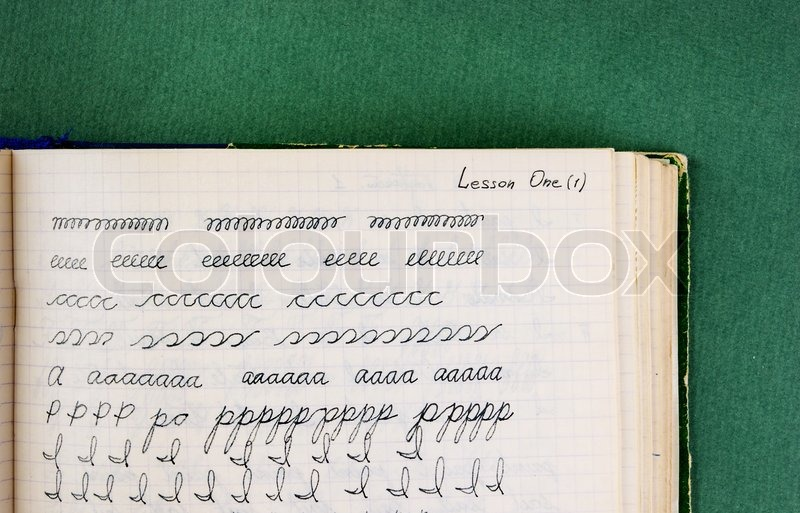 Old school exercise book in English | Stock image | Colourbox