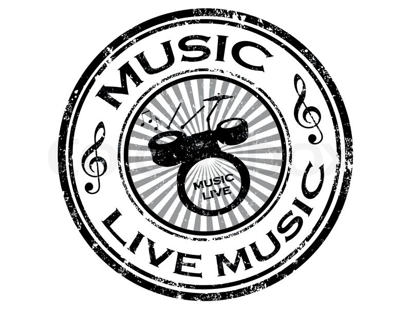 Black Grunge Rubber Stamp With Drums